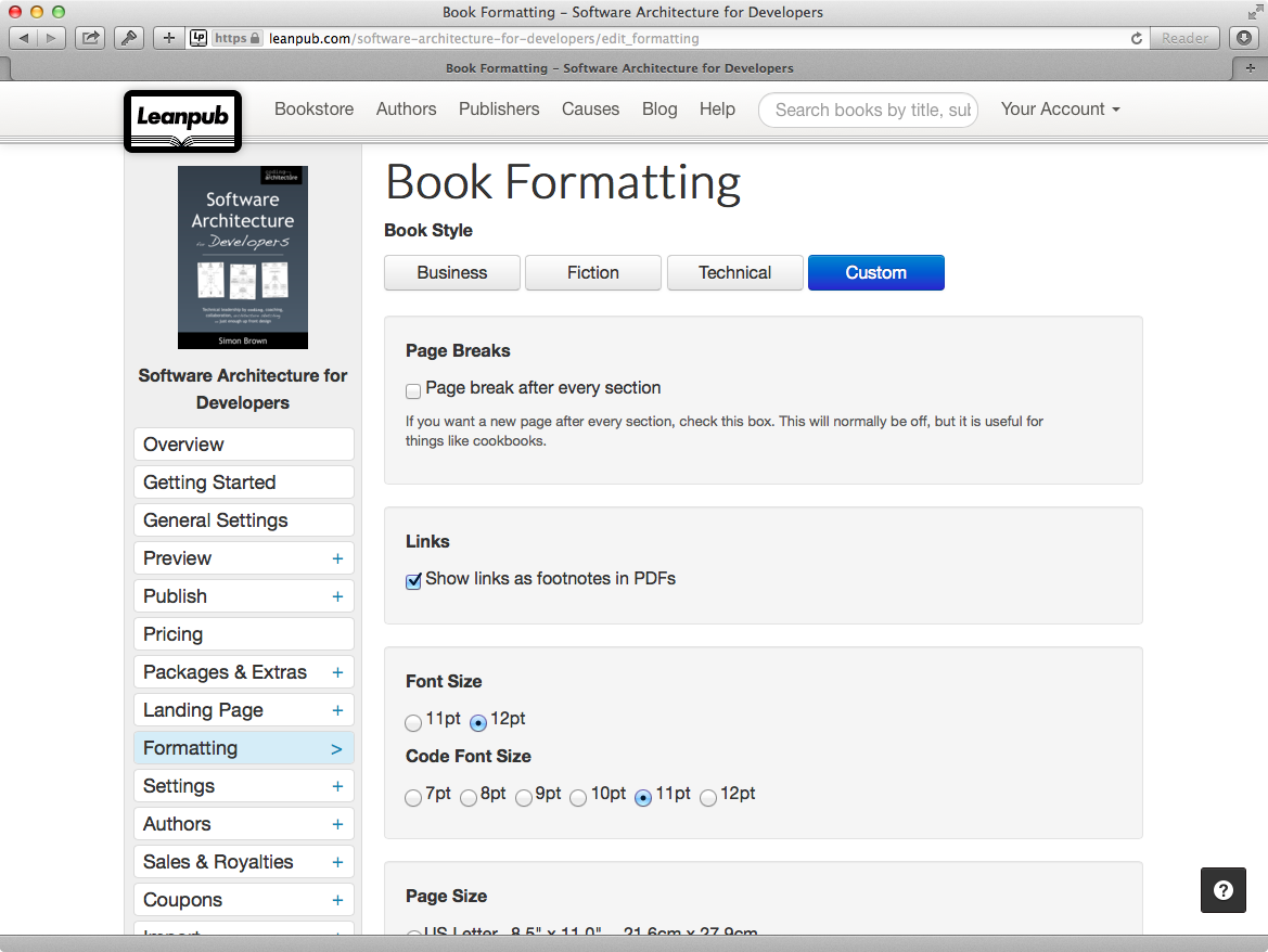 Book formatting on Leanpub